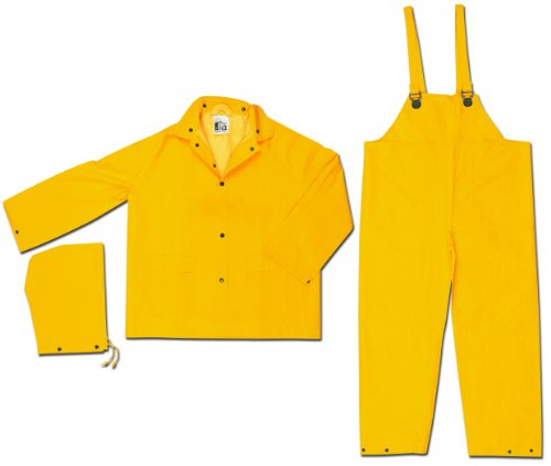 MCR Safety 2003X4 Classic PVC/Polyester 3-Piece Rainsuit with Attached Hood, Yellow, 4X-Large