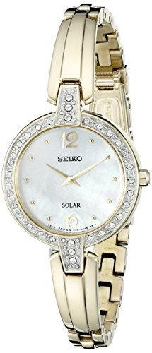 Seiko Women's SUP290 Solar Bangle Analog Display Japanese Quartz Gold-Tone Watch (Mother Of Pearl Womans Watch)