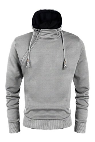 GOTCHICON Men's Buckle Zipper Pullover Hoodies Solid Wool Long Sleeve Fleece Casual Sweatshirts (Buckle Hooded Sweatshirt)