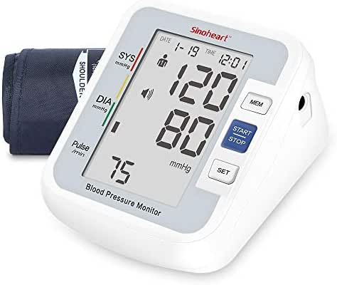SINOCARE Blood Pressure Monitor Upper Arm for Home Use - FDA Approved Digital Automatic Sphygmomanometer BP Machine with 2-User 90 Readings Memories Voice Function & Large LCD Display