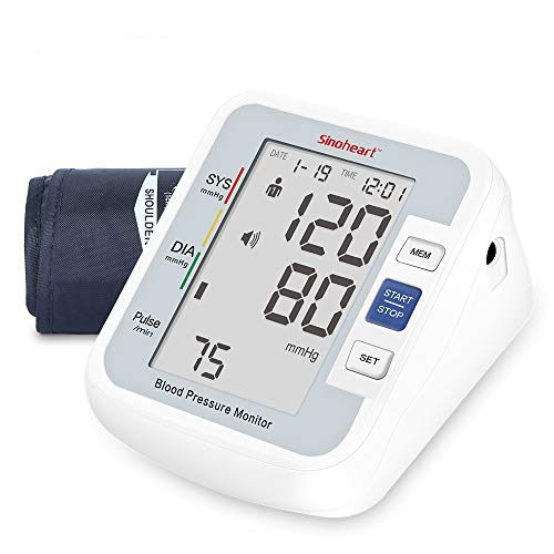 SINOCARE Blood Pressure Monitor Upper Arm for Home Use – FDA Approved Digital Automatic Sphygmomanometer BP Machine with 2-User 90 Readings Memories Voice Function & Large LCD Display