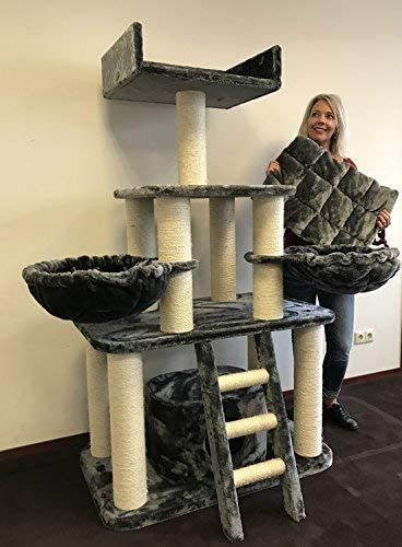 Rascador para gatos grandes Panther Gris oscuro baratos arbol xxl maine coon gato adultos con hamaca gigante sisal muebles sofa escalador torre Árboles rascadores cama cueva repuesto medianos: Amazon.es: Productos para mascotas