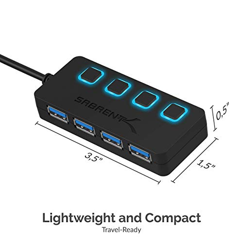 Sabrent 4-Port USB 3.0 Hub with Individual Power LED Switches