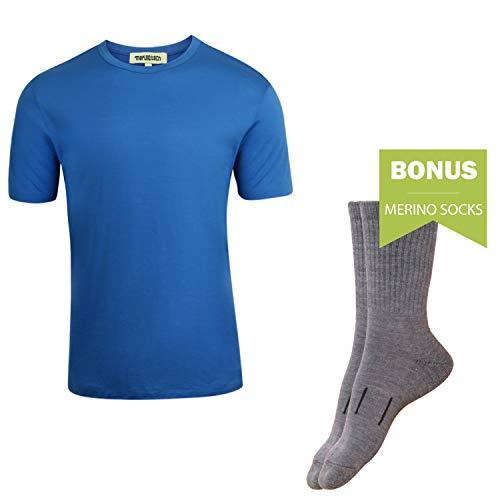 Merino.tech 100% NZ Organic Merino Wool Lightweight Men's T-Shirt + Merino Wool Hiking Socks Bundle   Short Sleeve Crew Tee   No Odor   UPF 25 (XLarge, Sky Blue) (Best Merino Wool Brand)