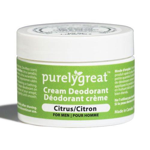 Purelygreat Natural Deodorant for Men Citrus - EWG Verified - Vegan, Cruelty Free - No Aluminum, No Parabens, BPA Free - Essential Oils