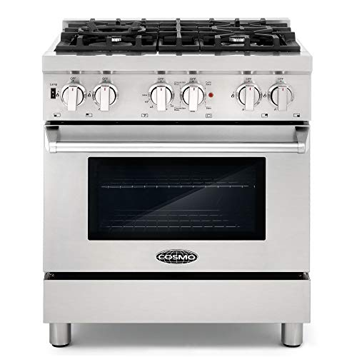 Cosmo DFR304 30 in Slide-In Free-standing Dual Fuel Range Pro-Style 4 Sealed Burner Gas Rangetop , 3.9 cu. ft. Electric Convection Oven and Stove Cast Iron Grate Wok Attachment – Stainless Steel