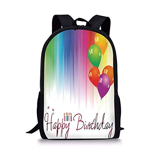 Price comparison product image School Bags Birthday Decorations, Rainbow Colored Striped Backdrop Balloons Stylized Lettering Candles, Multicolor for Boys&Girls Mens Sport Daypack