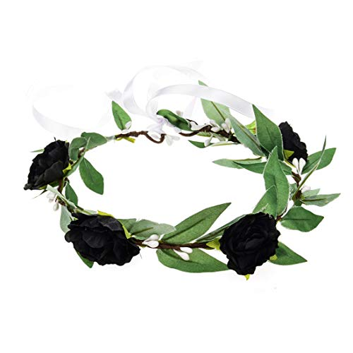 DDazzling Green Leaf Floral Crown Eucalyptus Flower Women Girls Breath Hair Crown Headpiece Bridal Halo Photo Prop (Black and -
