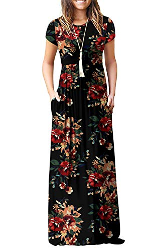 Euovmy Women's Short Sleeve Loose Plain Maxi Dresses Casual Long Dresses with Pockets Brown Floral Black Large