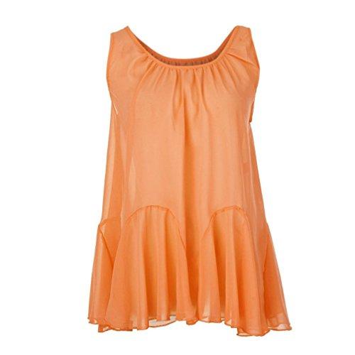 blouses for women blouse chiffon polka dot peasant sleeveless lace white floral sexy red ruffle girls saree elegant short sleeve peplum silk dirndl (X-Large,Orange) ()