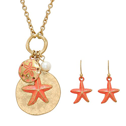Rosemarie Collections Women's Starfish Sand Dollar Faux Pearl Pendant Necklace Earrings Set Gold Tone (Coral) Pearl Coral Pendant