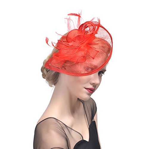 FeiYu Crafts Penny Mesh Hat Fascinator with Mesh Ribbons and Red Feathers ()
