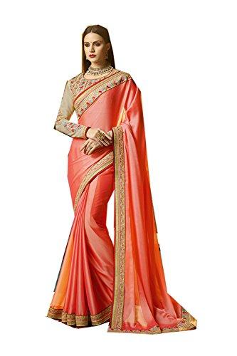 Da Facioun Indian Sarees For Women Wedding Designer Party Wear Traditional Sari. Da Facioun Saris Indiens Pour Les Femmes Portent Partie Concepteur De Mariage Sari Traditionnel. Peach 9 Pêche 9