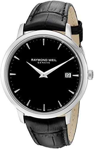 (Raymond Weil Men's Toccata Stainless Steel Swiss-Quartz Watch with Leather Strap, Black, 18 (Model: 5588-STC-20001))
