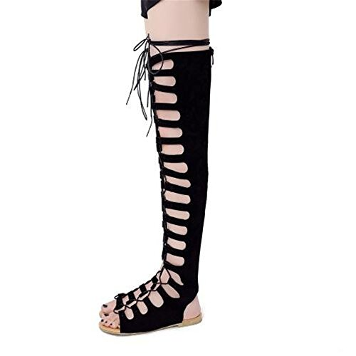 Shoe'N Tale Women's Faux Suede Lace Up Flat Over The Knee Thigh High Gladiator Sandals (8.5 B(M) US, Black)