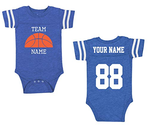 - Custom Cotton Add Your Name Number Baby One-Piece Suits -Basketball Team Apparel Outfits & Jerseys for Babies