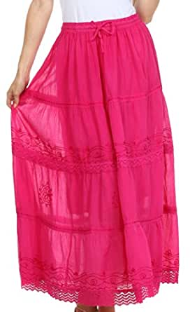 AA754 - Solid Embroidered Gypsy / Bohemian Full / Maxi / Long Cotton Skirt - Fuschia/One Size