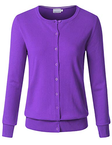 Crew Ribbed Sweater - JSCEND Women's Long Sleeve Button Down Crew Neck Soft Knit Cardigan Sweater ULTRAVIOLE M