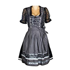 MS-Trachten Ladies Dirndl Traditional Costume Dress Festive Dress Helene Jaquard Black Silver