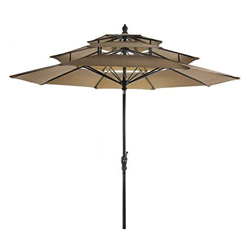 9' 3-Tier Umbrella in Khaki -