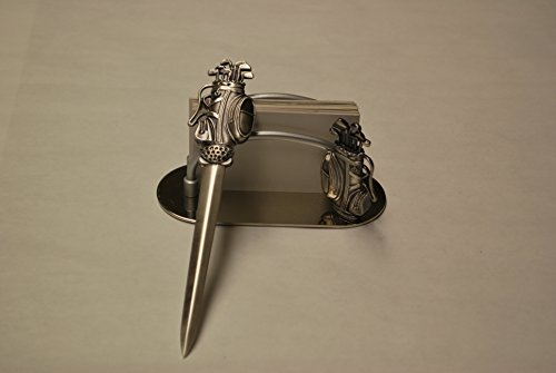 Golf Bag Motif Hand Detailed Letter Opener & Business Card (Golf Letter Opener)
