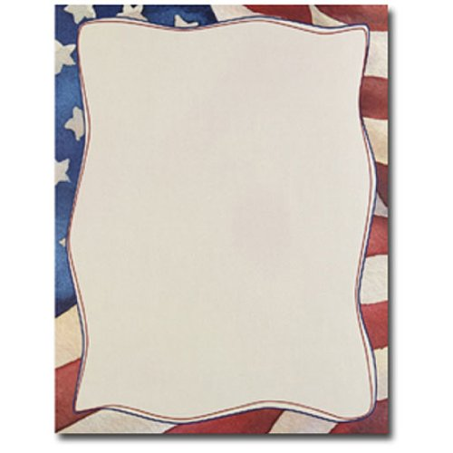 American Flag Writing Paper - Patriotic American Flag Border 4th of July Computer Printer Paper (50 Sheets)