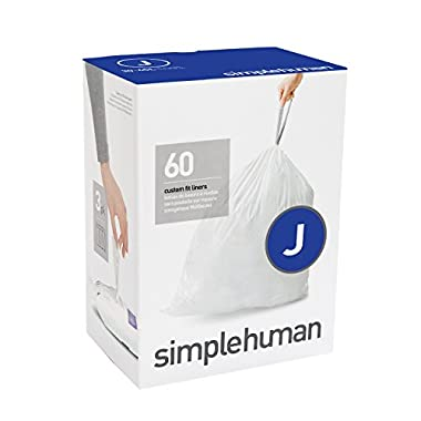 simplehuman code J custom fit liners, 3 refill packs (60 liners), Code J - 30-45L / 8-12 Gallon, White