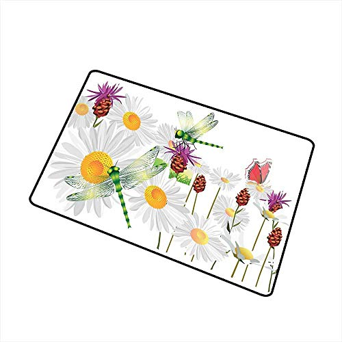 RelaxBear Dragonfly Commercial Grade Entrance mat Daisy Flower Field with Chamomile and Butterflies Grassland Elegance Design for entrances garages patios W31.5 x L47.2 Inch Fern Green White - Name Dragons Light Celtic