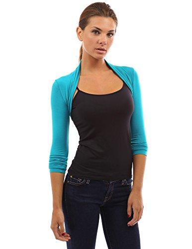 - PattyBoutik Women Long Sleeve Bolero Shrug (Turquoise Large)