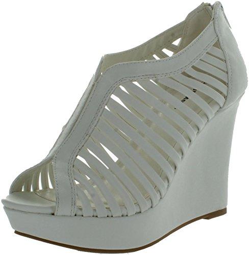 Top Moda Womens Denver-1 Gladiator Wedge Heel (High Heel Peep Toe Wedges)