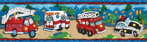 Clay Rescue Vehicles Wallpaper Border - Ambulance, Firetruck Fire Truck… (Wallpaper Fire Border Truck)