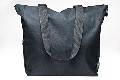 Black Tote Bag 17 Inches Travel Shopping Business Handle Carrier by MakExpress by MakExpress (Image #3)