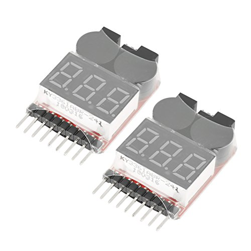 2Pcs Battery Low Voltage Alarm 1S-8S Buzzer Alarm Battery Monitor Tester LED Indicator Checker