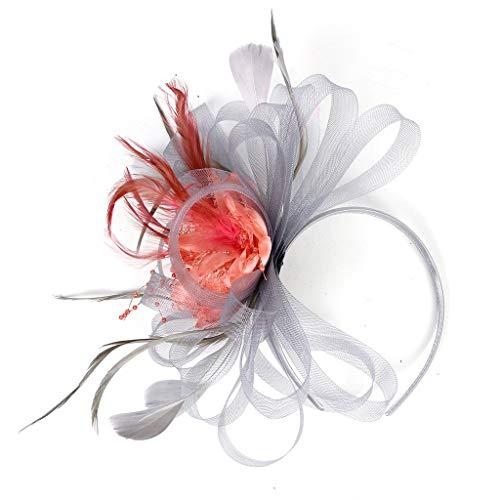 (Dream_ mimi Headpiece Feather Flapper Headband Headdress Vintage Great Flower Headband (Gray))