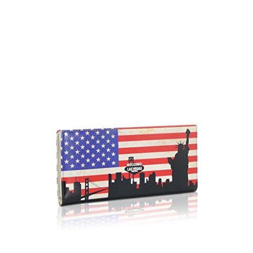 3.75' Blue Leather - DARLING'S United States Flag Patriotic Design Genuine Leather Bifold Wallet - US