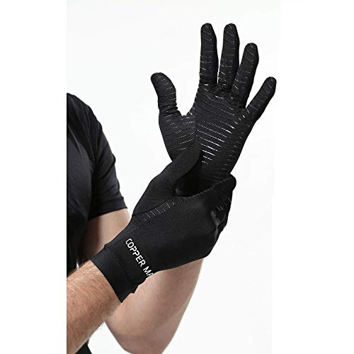 HIGHCAMP Arthritis Gloves Women- Copper Gloves Men- Compression Gloves Recovery & Relieve for Arthritis, RSI, Carpal Tunnel, Swollen Hands, Tendonitis, Everyday Support & More- Full Finger/Black M