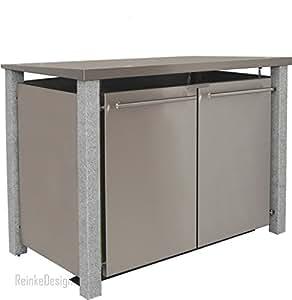 Reinkedesign –Cubo de basura Casa con pupitre techo y granito postes 2x 120L