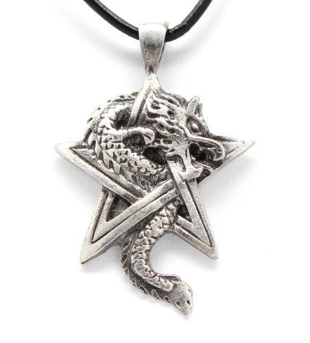 - Pewter Dragon on Pentagram Star Gothic Fantasy Pendant, Leather Necklace
