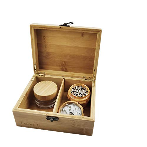 HARVEST Handmade Bamboo Stash Box -INCLUDES UV Glass stash jar and Grinder- Engraved Wood Stash Box – Smell Proof Includes Bamboo Glass Stash Jar and Bamboo Grinder Artfully designed.