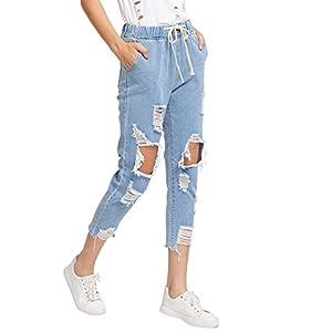 SweatyRocks Women's Juniors Distressed Ripped Drawstring High Waist Capris Crop Jeans
