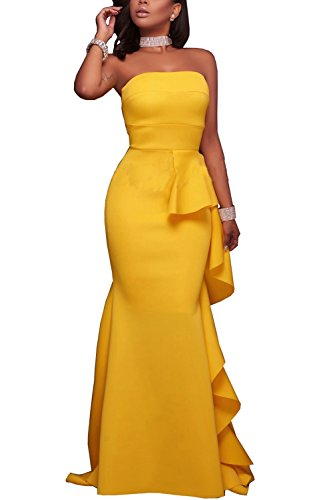 Zilcremo Women Elegant Off Shoulder Tube Ruffles Maxi Evening Dress Yellow L (Yellow Dresses For Women Evening)