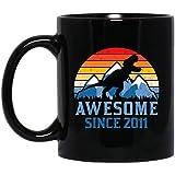 7th Birthday Gift Mug, Vintage Dinosaur T-Rex 7 Years Old Mug for Boy, Awesome Since 2011 Mug gift...