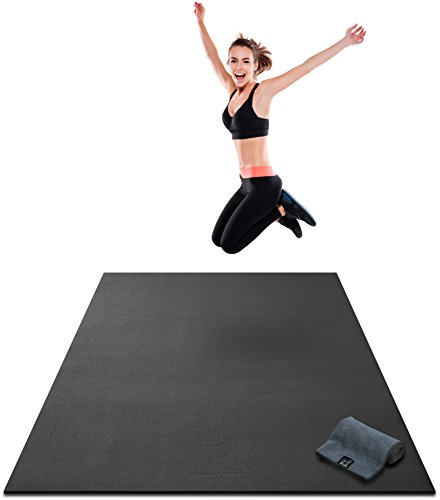 Large Exercise Mat - 7' x 4' x 8mm Ultra Durable, Non-Slip, Workout Mats for Home Gym Flooring - HIIT, Plyo, Cardio, Jump Mat - Use with or Without Shoes (84