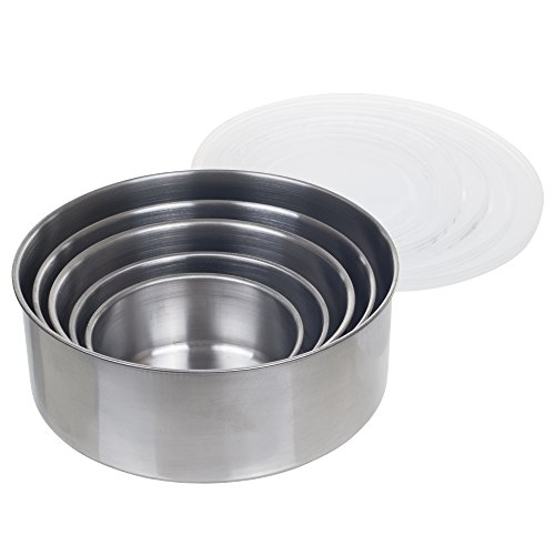 Want Chef Buddy 5 Piece Stainless Steel Bowl Set with Lids, Silver online