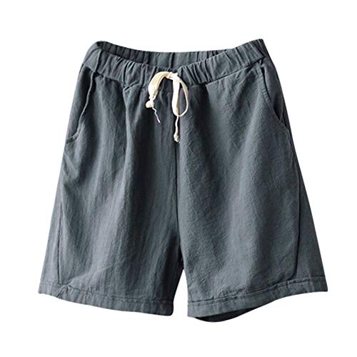 Short 72% Off - Women Short Pants, JOYFEEL ❤️ Ladies Cotton Linen Casual Elastic Waist Pants Drawstring Solid Summer Walking Shorts Gray