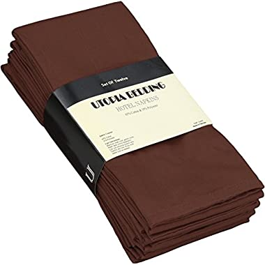 Cotton Dinner Napkins Brown - 12 Pack (18 inches x18 inches) Soft and Comfortable - Durable Hotel Quality - Ideal for Events and Regular Home Use - by Utopia Kitchen