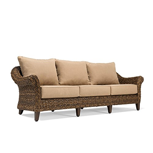 Blue Oak Outdoor Bahamas Patio Furniture Sofa with Sunbrella Canvas Heather Beige Cushions