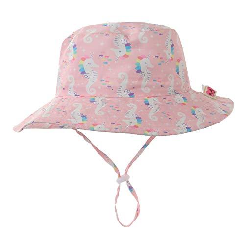 Home Prefer Baby Girls Hat UV Protection Hat Wide Brim Cotton Sun Hat 3M-6M Sea Horse #46