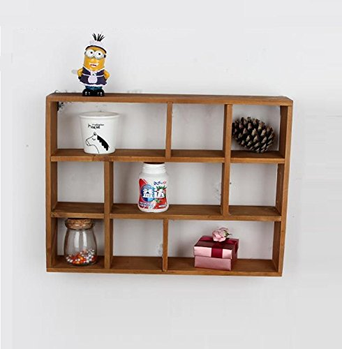 Chris.W Wall Mounted / Freestanding Cubeicals Off-set Mini 9 Compartment Wooden Organizer Holder Rack Shelf Collection- 15-1/2' x 3' x 11-1/2'