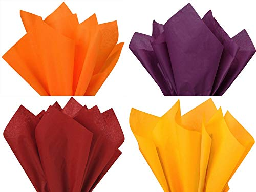 Assorted 4 Colors Fall Thanksgiving Holiday Colors Gift Grade Tissue Paper Sheets - 15